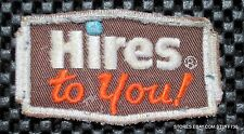 "HIRES TO YOU ROOT BEER EMBROIDERED PATCH BEVERAGE SODA NOS 3 1/4"" x  1 7/8"""