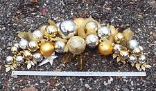 3' Commercial Christmas Silver & Gold Holiday Bulbs Outdoor Swag Pick Up Only !