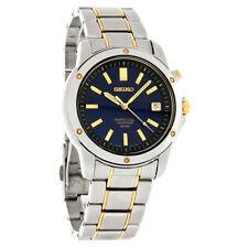 NEW* Seiko SNQ010 Quartz Perpetual Calendar Mens Blue Dial Two Tone Dress Watch
