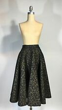 Vintage 1950s 50s Quilted black with gold floral ditsy print CIRCLE SKIRT Mint!