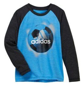 Adidas Boy's L Soccer Ball Long Sleeve Raglan T-Shirt Blue w/Dark Gray Sleeve