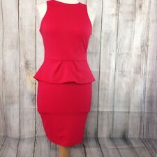 Stunning Scarlet Red RIVER ISLAND Peplum Wiggle Dress Size 8