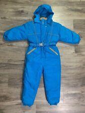 VTG 90s Pistachio One Piece Hooded Snow Snowmobile Ski Suit Blue Youth Sz Medium