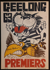 1963 Geelong Limited Edition Premiers Weg Poster signed Graham Polly Farmer