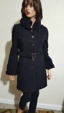 WILLI SMITH BLACK BOILED WOOL BELTED  CARDIGAN SWEATER COAT ~ SMALL