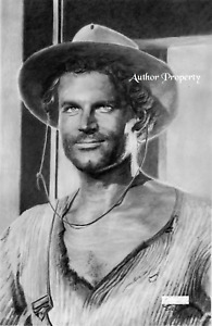 """TERENCE HILL TRINITY WESTERN PORTRAIT Original Pencil Graphite Drawing 13"""" x 19"""""""