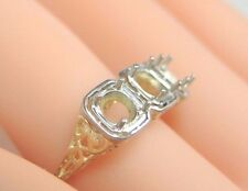 Antique Vintage Ring Setting 14K Two Tone Ring Size 6 UK-L1/2 Hold 3 - 4.5-5.5MM