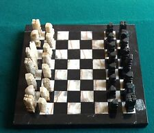 "MARBLE & ONYX CHESS SET 8"" X 8"" BLACK AND TAN VERY GOOD USED VINTAGE"