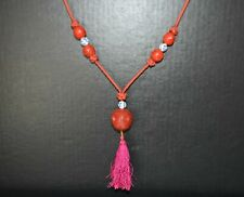 Antique Chinese five red round cinnabar lacquer beads necklace 辟邪朱砂项链 fine carve