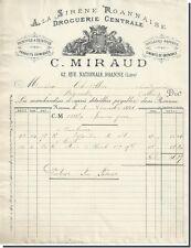 Facture - C-MIRAUD droguerie Centrale A la sirène Roannaise à Roanne 1891