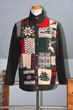 Vtg Ralph Lauren Christmas Holiday Patchwork Hand Knit Cardigan Sweater S RARE
