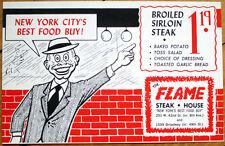1960 Restaurant Advertising Postcard: $1.19 Steak at 'The Flame,' New York City