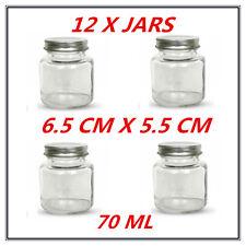 12 x Mini/Small Dessert/Lolly/Candy Glass Jar w/h Screw Top Silver Lid - 70ml AP