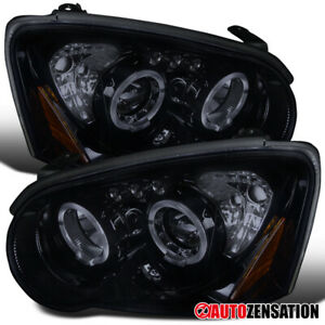 For 2004-2005 Subaru Impreza Glossy Black Smoke LED Halo Projector Headlights