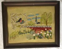 Crewel Embroidery Nature  River church scene Art Wall Hanging  Framed Vintage