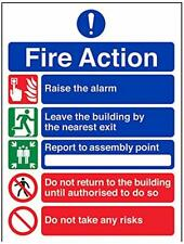 Fire Action Sign Self Adhesive Emergency Signs Evacuation Assembly Notice Signs