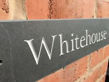 Personalised natural riven Slate House Sign 400mm x 100mm Any Name / Number