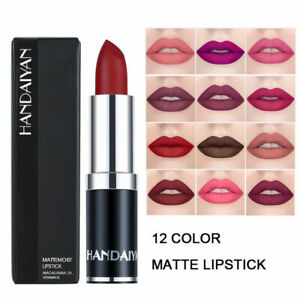 HANDAIYAN Lipstick 12 Colors Matte Long-lasting Makeup Red Lips Matte Lip Gloss