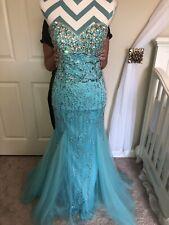 Jovani Full Length Formal Dress, Aqua with sequins & rhinestones, Size 4