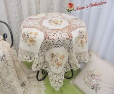 "Shabby~Hand Crochet Lace Ribbon Embroidered Tablecloth~42"" Square~Cottage Charm~"