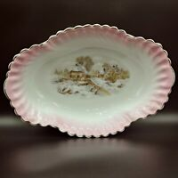 Vintage Zeh Scherzer & Co. Bavaria Porcelain Platter/Serving Dish w/Winter Scene