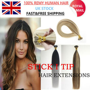 """14""""-24"""" 7A 1G Stick I Tip Micro Beads Remy Human Hair Extensions Double Drawn UK"""