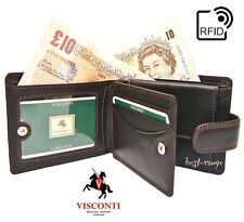 Wallet Real Soft Leather Brown Visconti New in Gift Box RFID blocking HT10