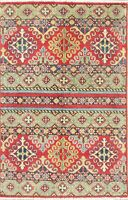 Geometric Color-full Kazak Pakistan Tuscan Oriental Hand-Knotted Wool Rug 3'x4'