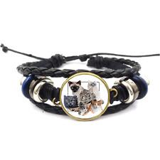 Cat Collage Glass Cabochon Bracelet Braided Leather Strap Bracelets