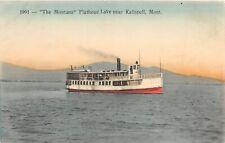 "F48/ Kalispell Montana Postcard c1910 ""Montana"" Flathead Lake Boat"