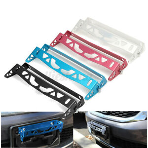 Car Bumper Tilt License Number Plate Mount Bracket Frame Holder Aluminum Black