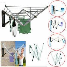 4 ARM 26M FOLDING WALL MOUNTED CLOTHES AIRER WASHING LINE DRYER GARDEN OUTDOOR