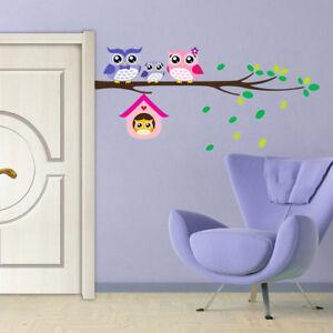 Cartoon Tree Leaves Owl House Animal Decor Decal Mural Nursery Kids Wall Sticker