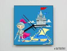 Boy Knight Castle Wall Clock - Kids Nursery Room - Wall Clock