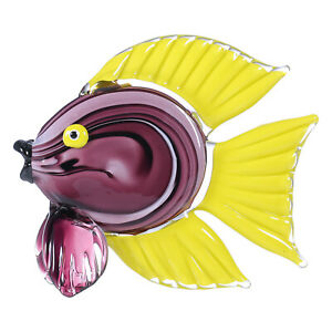 Tooarts Yellow Tropical Fish Glass Sculpture Animal Home Decor Gift Crafts N1T7