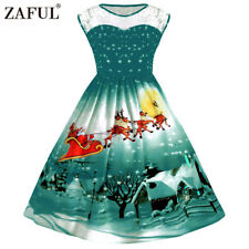 Women's Plus Size Christmas Vintage Ball Dress Lace XMAS Snow 50's Swing Dress