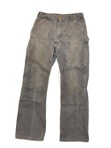 USA Carhartt B01 GVL Duck Double Knee Distressed Work Pants 33X32 Men's