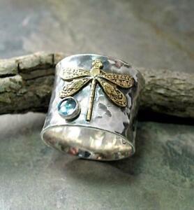 Retro 925 Silver Gem Aquamarine Dragonfly Ring Women Anniversary Christmas Sz 10