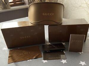 Genuine 'GUCCI' Luxury Gold Oversized Frame Sunglasses Case, Box + Clean Cloth+