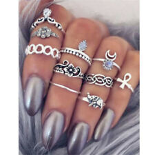 10PCS Silver Flower Crystal Knuckle Rings Tribal Ethnic Hippie Stone Joint Ring