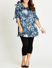 Plus Size Blue Animal Print Polyester Short Sleeve Ladies Tunic Size 20
