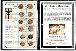 12 Bronze Romain Pièces,Rise De Christianisme En Ancient Rome,Album,Cert ,COA