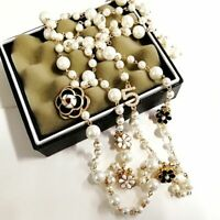 Simulated Pearl Long Necklace Double Layer Pendant No 5 Imitation Fake Jewel