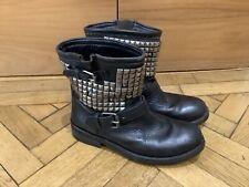 ASH Ladies Black Leather Studded Biker Boots Size EUR 40