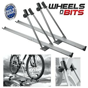2x Aluminium Universal Car Roof Bicycle Bike Carrier Upright Mounted Cycle Rack