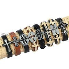Lots 8pcs Classic CROSS Christ OX Genuine Brown&Black Leather Bracelets for Men