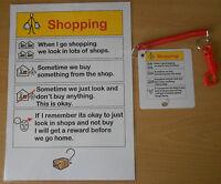 SHOPPING REMINDER CHART & KEYRING  a great visual reminder autism/sen/aspergers