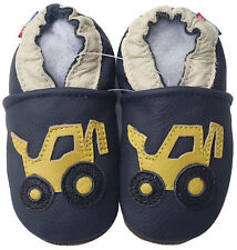 carozoo forklift navy blue 12-18m soft sole leather baby shoes