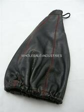 APC GEAR SHIFT SHIFTER BOOT COVER BLACK PVC LEATHER RED STITCHING UNIVERSAL JDM