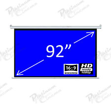 "Brand New 92"" Electric Motorized HD Projection Screen Widescreen 16:9Fiber Glass"